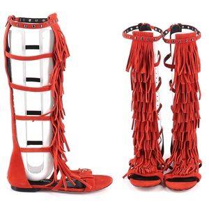 Alice + Olivia Paula Suede Fringe Gladiator Sandal